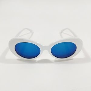 Accessories - Retro Kurt Cobain White Blue Round Sunglasses